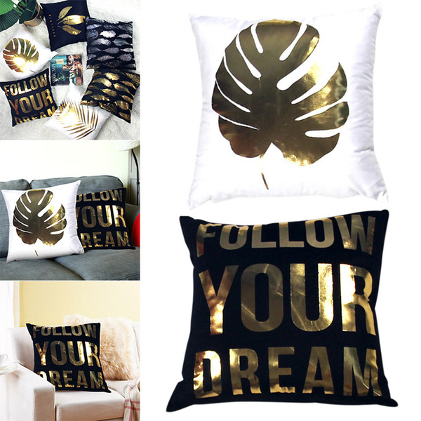 2Pcs Bronzing Cushion Cover Soft Plush Leaf Letter Feathers Cushion Cover for Sofa Chair Car Bed AUG889