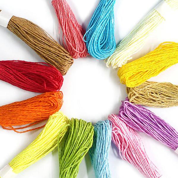 10 mètres couleur papier corde 12 couleurs bricolage à la main accessoires maternelle ficelle chaîne cadeau boîte emballage de mariage rubans décor