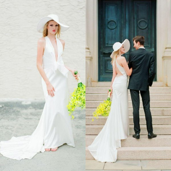 Simple Sheath Country Wedding Dresses Deep V Neck Big Bow Front Satin wedding Dress Sexy Open Back Cheap Summer Beach White Bridal Gowns