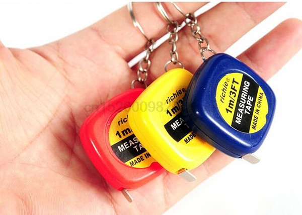 300PCS Cute 1 Meter Color Random Keychain Keyring Tool Popular Mini Measuring Tape Portable Keychain Wholesale