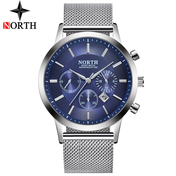NORTE Hombres Relojes de Pulsera de Primeras Marcas de Lujo Reloj de Cuarzo Hombres Malla de Acero Casual Reloj hombre Impermeable Deporte Reloj de Pulsera Relogio