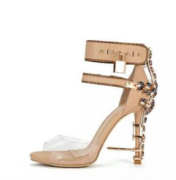 Fashion High-heeled Shoes Water Drill Fish Mouth Transparent Film Metal Foot Bowl Trip Belt Female Rough high heel sandals lock banquet shoe