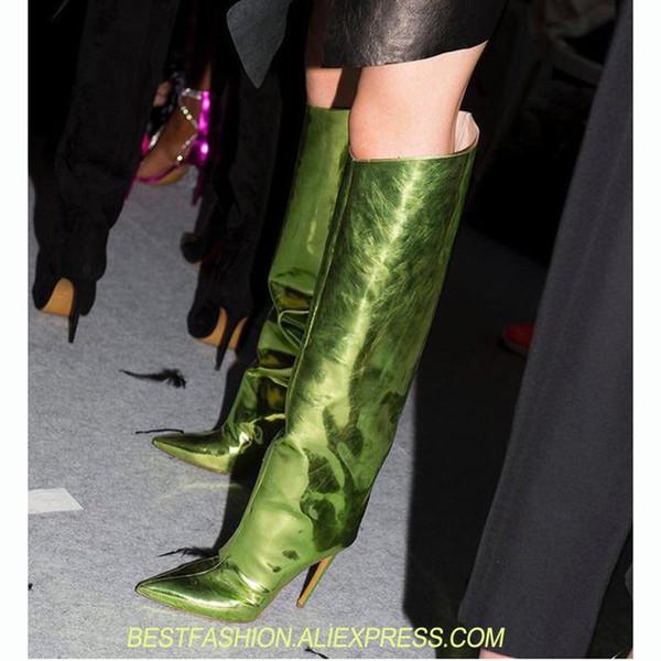 Piste Femmes Chaussures Miroir Métallique Au Genou Haut Cuir Vert Cuisse Bottes Élevées Été Automne Femmes Bottes Pointu Toe Talons Hauts