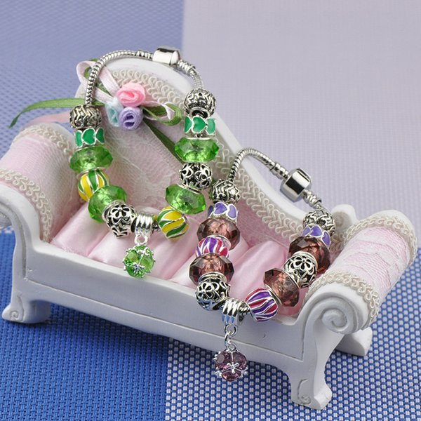 Top Quality Charm Bracelets Girl Silver Plated Fit Pandora Bangles Diamond Beads Green Red Crystal Stone Pendant Alloy Jewelry With Logo P29