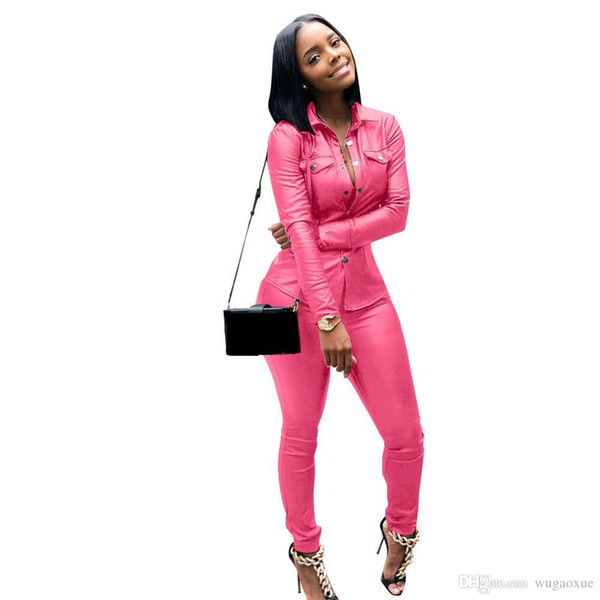 Sexy Pu Two Pieces Set Pockets Women Turn-Down Collar Long Sleeve Jacket Top And Pencil Pants Outfits Pu Leather Suit