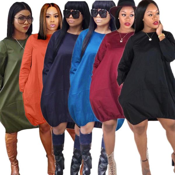Free Ship Women Lady Fashion Soild Color Crew Neck Tunic Dress Casual Loose Pocket Dresses Long Sleeved 3XL Plus Size