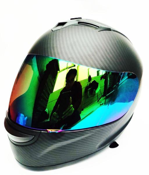 углеродное волокно мотоцикл Modular анфас шлет цвет козырек Щит MaBlack ВС; Размер L (22.4-22.8 дюйма)
