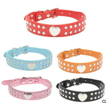 Rhinestone Dog Collars PU Leather Pet Necklace Hot Selling Glaze Heart Double Rows Diamond Dog Collar