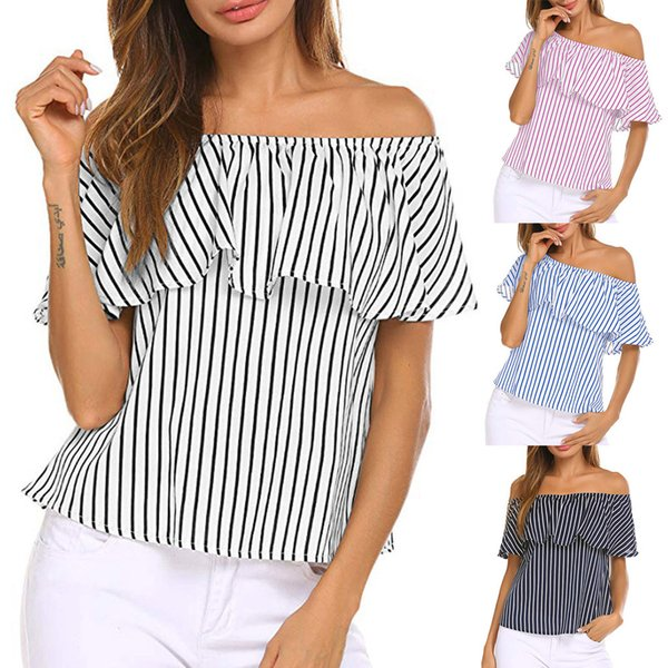 2019 New Arrival womens t shirts casual ladies Women's Off Shoulder Ruffles Striped Printed Casual Blouse Loose Shirt Tops shein
