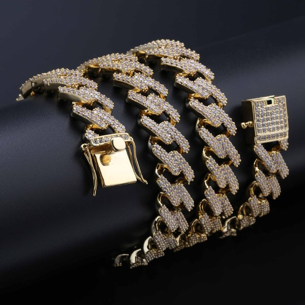 18K Real Gold Hip Hop Iced Out CZ Mens Cuban Square Link Chain Necklace 14mm Full Diamond Miami Rock Choker Jewelry Gifts for Boys on Sale