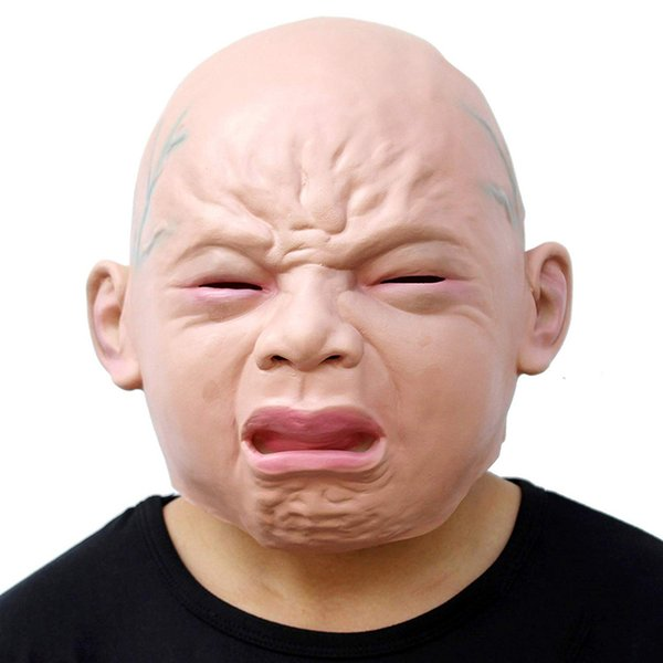 New Creepy Cry Baby Full Head Face Latex Scary Mask Halloween Costume Adult Mask