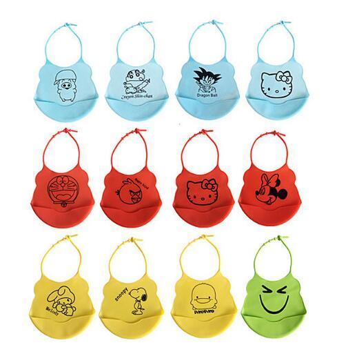 Waterproof Bibs for Toddlers 100% Food Grade Silicone Baby Bibs Easy to Clean Feeding Bib Comfortable Soft Adjustable Baby Bibs Cute Design