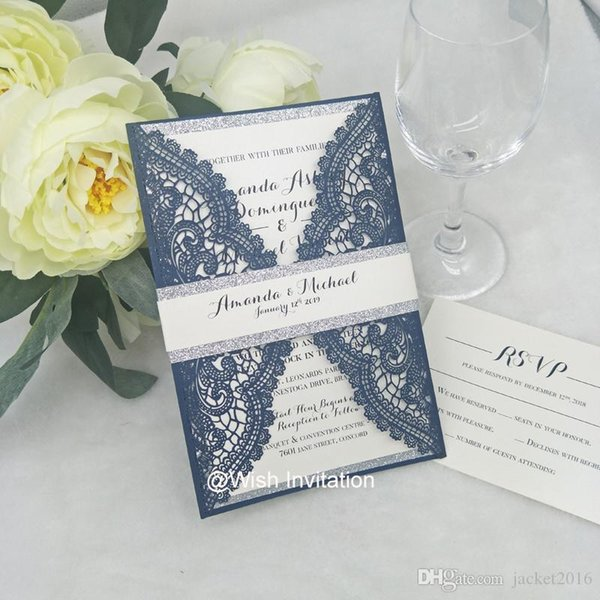 Lace Navy Blue Wedding Invitations Silver Bottom With Glitter Belly Band Evening Dinner Party Invitations Laser Cut Invites Fairy Tale Wedding
