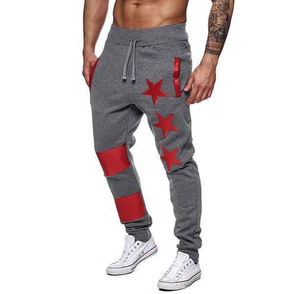 2019 pantalones corrientes nuevos hombres de la estrella Impreso jogging macho ocasional del remiendo Deportes Joggers Fútbol Fútbol Gimnasio Pantalones Lápiz Legging