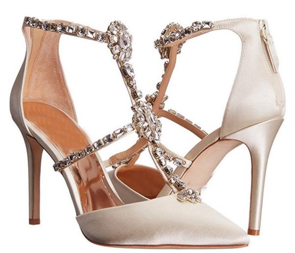 Mulher brilhante diamante sapatos de casamento elegante pontudo sexy de salto alto de cristal delicado festa de salto alto