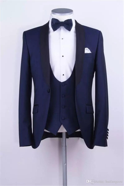 Custom Made Three Pieces Wedding Tuxedos For Best Men Shawl Lapel One Button Mens Suits for Groom Custom Made Formal Suit (Suit+Pants+Vest)
