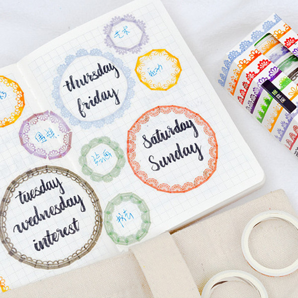 10 Pcs/Box Lace edge washi tape DIY decorative scrapbook planner tapes adhesive tapes stationery