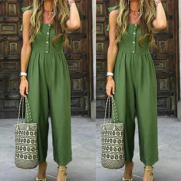 New Green Simple Jumpsuit Damen Casual Sommer Einfarbig Mit Knöpfen Schultergurt Bandagws Casual Jumpsuit Overalls