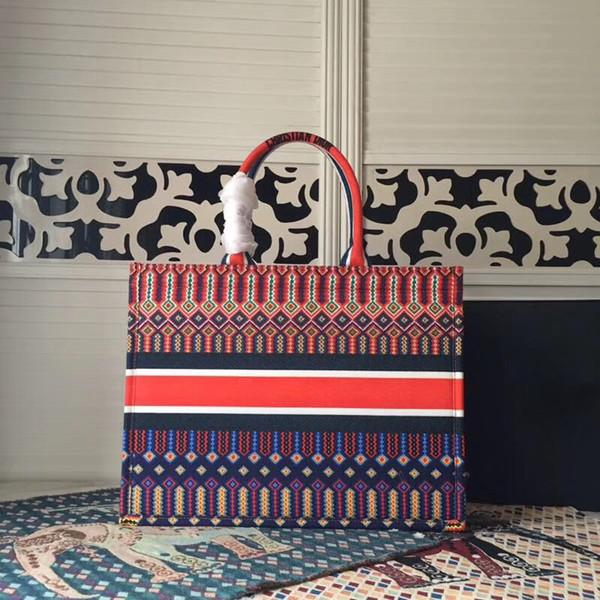 borse di cuoio casuali di modo di alta qualità delle donne hanno stampato la tela con le borse della borsa della borsa della borsa della pelle bovina del ricamo Shopping il trasporto libero