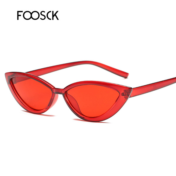 FOOSCK Novas Pequenas Senhoras Sexy Cat Eye Sunglasses Mulheres Marca de Moda Retro Vintage Óculos de Sol UV400 Gafas Oculos de sol