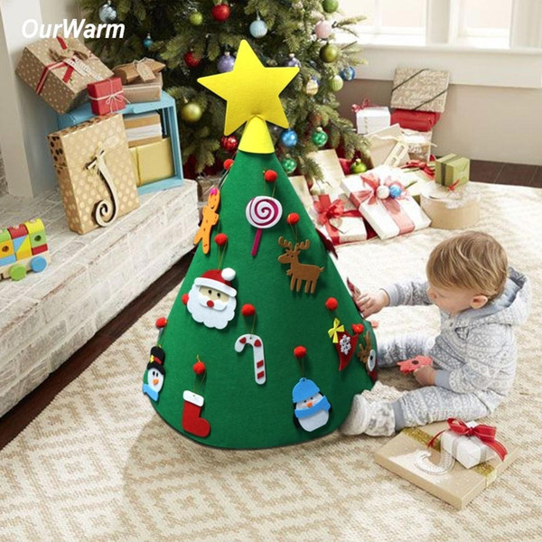 OurWarm 3D DIY Felt Toddler Christmas Tree New Year Kids Gifts Toys Artificial Tree Xmas Home Decoration Hanging Ornaments SH190920