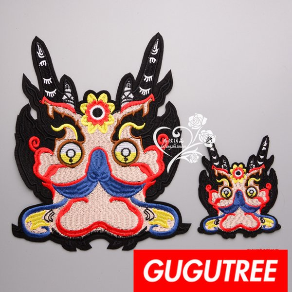 GUGUTREE embroidery big patches dragon patches badges applique patches for clothing BP-866