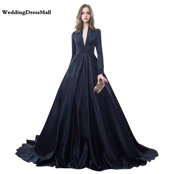 Long Sleeves Arabic Dubai Navy Blue Ball Gown Evening Dress 2019 Women Party Evening Gowns Robe De Soiree with Beadings