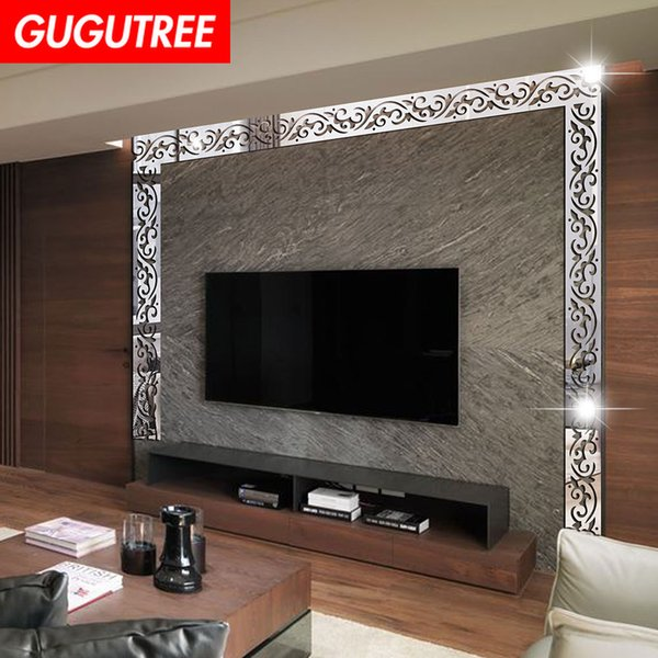 Decorate Home 3D flower leaf cartoon mirror art wall sticker decoration Decals mural painting Removable Decor Wallpaper G-260