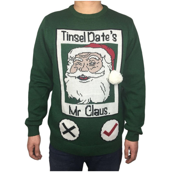 Christmas Sweaters Cute.2019 Funny Knitted Ugly Christmas Sweater For Men Cute Men S Green Ugly Xmas Sweaters Santa Holiday Pullover Jumper Oversized S 2xl From Candice98