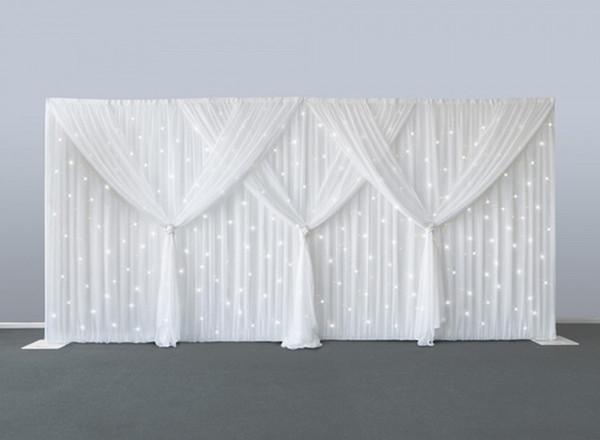 10 ft x 20 ft aydınlattığı Düğün perde ve 75 aydınlatma dahil bembeyaz sahne perdesi düğün dekorasyon arka plan peçe backdrops