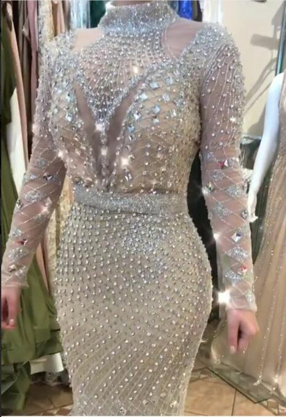 Evening dress Column High Collar Long Sleeve Tulle Beaded Crystal Sliver Classic Customizable in any size Modern 1 Customizable