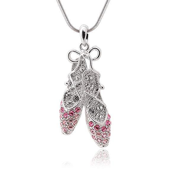 Silver Plated Pink Rhinestone Crystal Ballet Slipper Shoe Pendant Necklace Gift for girls