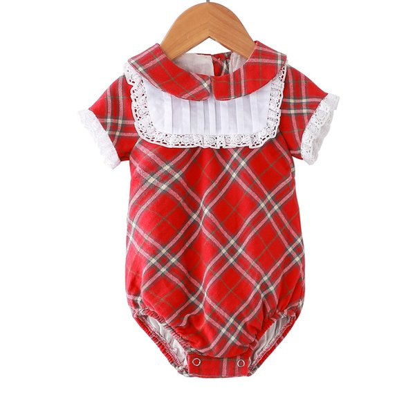 Baby Girl Clothing Ins infant girl romper Summer Pet Pan Collar Short Sleeve Plaid print romper baby romper 100% cotton clothing