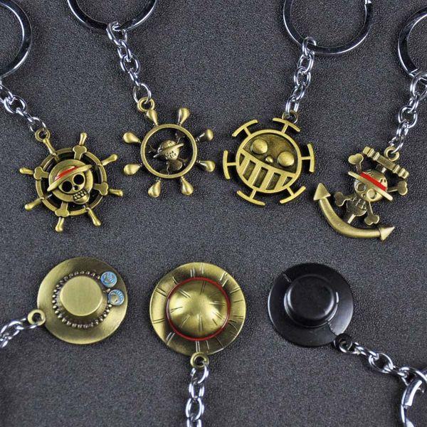 Anime One Piece Car Charm Keychain Japan Cartoon Mokey D Luffy Hat Rudder Car Bag key Keychain Alloy Metal Luffy Straw Anime KeyChain
