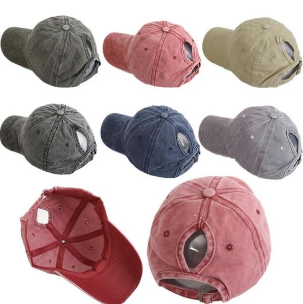 DHL Washed ponytail Baseball Cap Vintage Dyed Adjustable Unisex Classic Plain sport outdoor summer Dad Party Hats Snapback