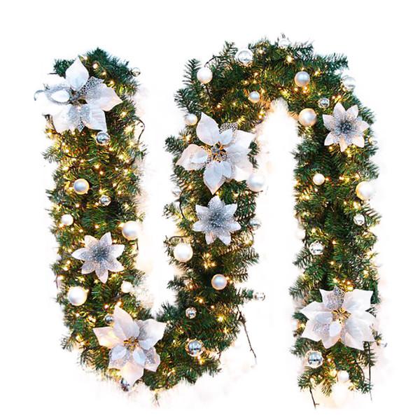 Neue 2,7 Mt LED Baum Hängen Ornament Rattan Bunte Dekoration Für Weihnachtsfeier Hochzeit Hause Outdoor Girlande Kranz Dekoration SH190904