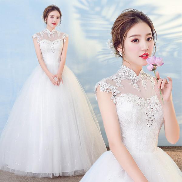 2019 새로운 유럽과 미국 스타일 신부 웨딩 드레스 스탠드 칼라 어깨 가방 오프 숄더 레이스 웨딩 드레스 도매