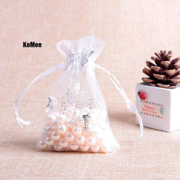 Silberner Schmetterling druckte weiße Drawable Organza-Taschen-100pcs / lot 7x9cm Süßigkeits-Geschenk-Korn-Korn-Schmucksache-Verpackentaschen für Hochzeitsfest