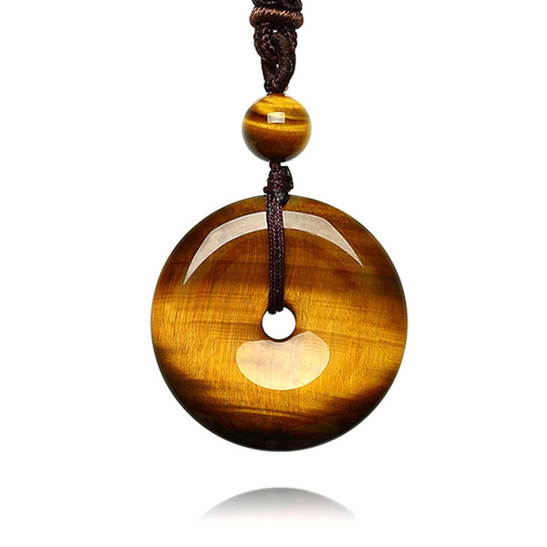 Tiger Eye Stone Pendant Hand Carved Safety Button Necklace With Chain Lucky Amulet Fine Jewelry For Men Women Gift