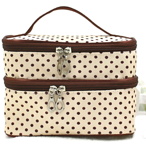 Portable Cosmetic Polka Dots Wash Organizer Case Bag Makeup Pouch Double Layer