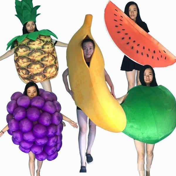 2019 hot new Professional Mascot Costume Adulto Tamanho Banana uva melancia abacaxi apple fruit Mascot Costume Halloween Natal