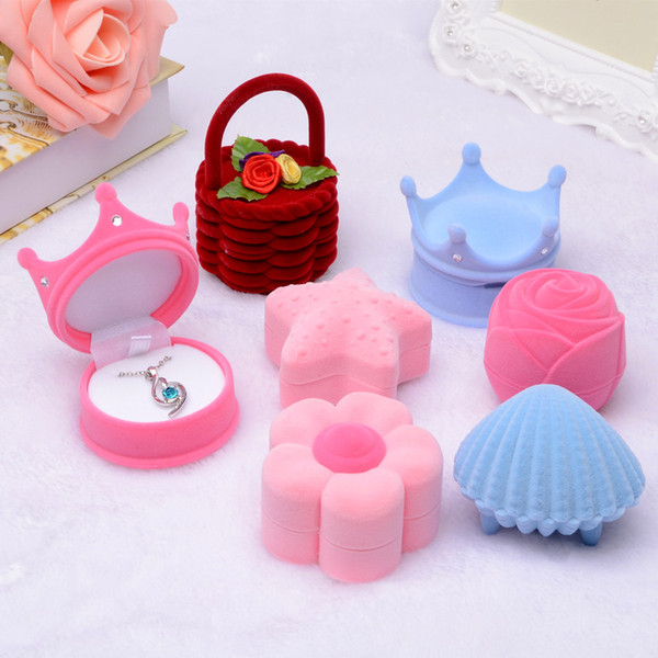 Velvet Shell Crown snowflake starfish Top hat Ice cream Jewelry Gift Boxes For Pendant Necklace Rings Earrings Packaging Display Case