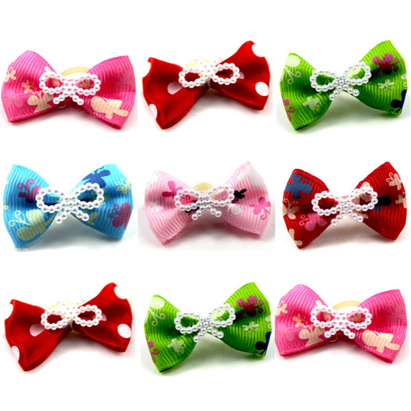 50 pcs/lot Small Dogs Bows Hair Grooming Puppy Accessories Supplies For Pets Hair Clips Grooming Yorkshire Table Bows