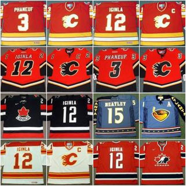 Calgary Flames 3 DION PHANEUF 1989 12 JAROME IGINLA 1989 34 MIIKKA KIPRUSOFF 1989 DANY HEATLEY Maillot de hockey vintage 2003