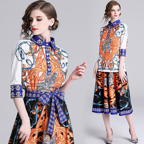 2019 Spring Summer Fall Runway Two Piece Women Ladies Sets Vintage Print Collar 1/2 Sleeve Sashes Tops Shirt Blouse Skirt Luxury Dress Suits