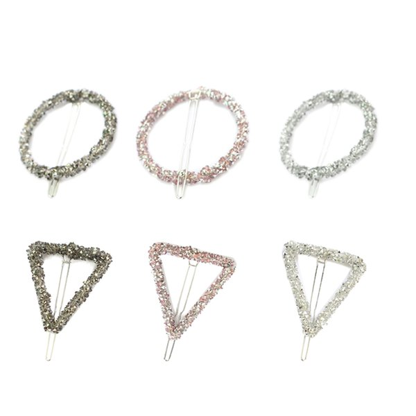 6 Pcs Hairpins Triangle Circular Drill Alloy Hairpin Barrette Hair Clip Bobby pin for Women Girls Ladies