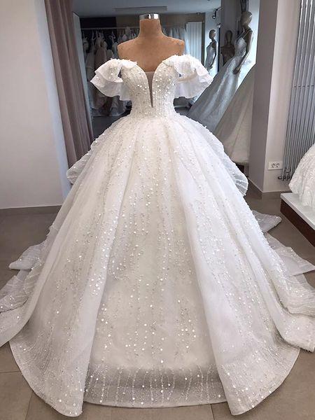 Real Photo White Off Spalla Ball Gown Organza zuhair murad Vintage Luxury Wedding Dress Reception Abiti da sposa 2019 Bling Long Train