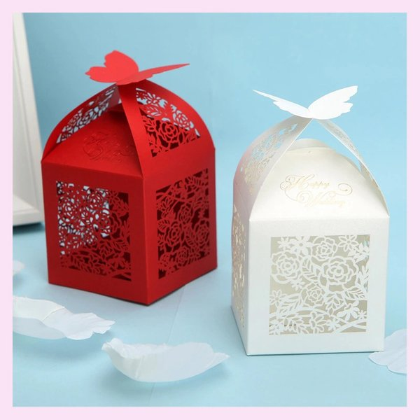 50PCS /lot European Style Candy Boxes Design With Ribbon Rose Sculpture Pearl Paper Valentine's Day Marriage Family