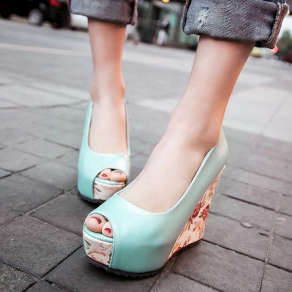 Plus size 34 to 40 41 blue floral prints peep toe high heel platform wedge shoes white blue pink 3 colors