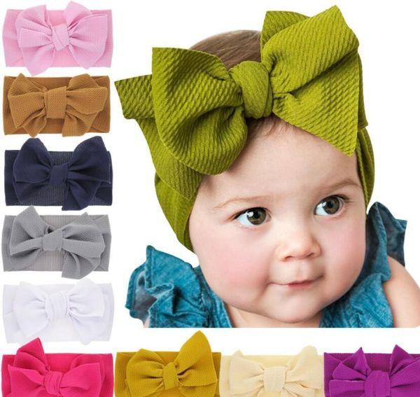 Мода Baby Girls большой лук повязки на голову Эластичный бантом повязки на голову головные уборы Дети головной убор повязки на голову новорожденный тюрбан головы Wraps WKHA01